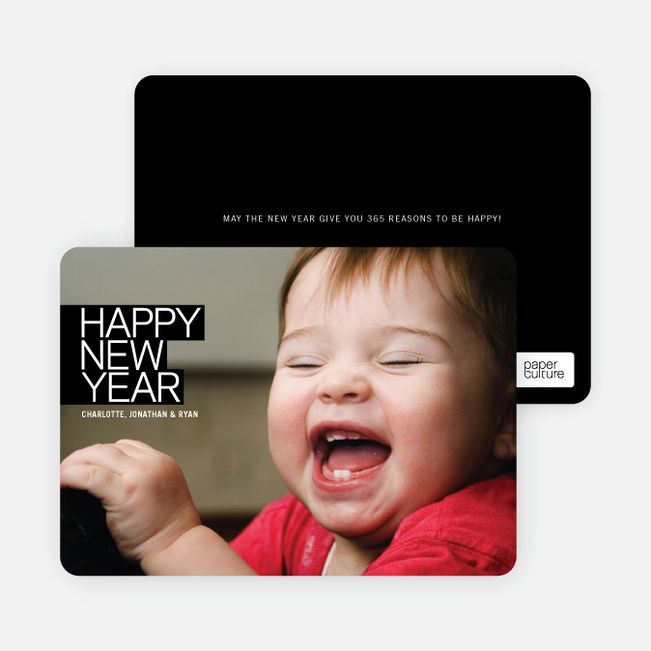 Modern Happy New Years Photo Cards - Black