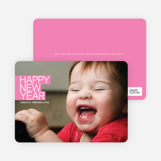 Modern Happy New Years Photo Cards - Hot Pink