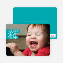 Happy New Year Photo Card - Turquoise