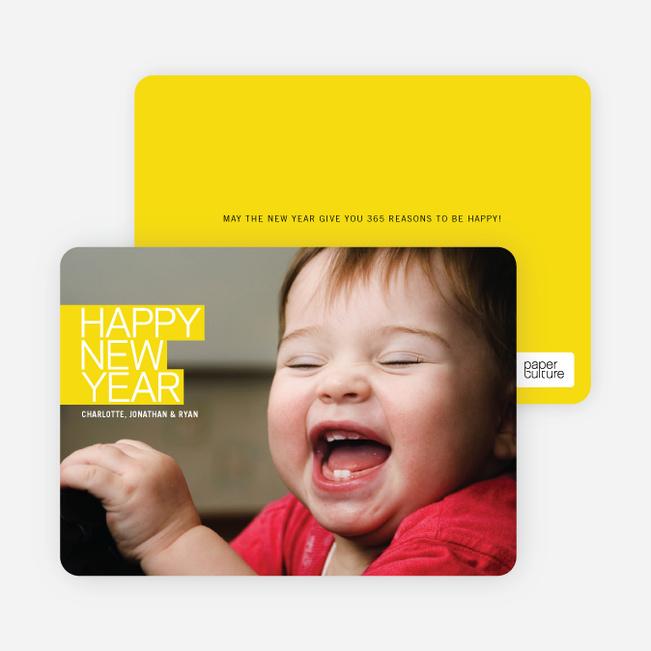 Modern Happy New Years Photo Cards - Lemon
