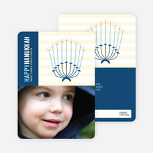 Menorah Chanukah Photo Card - Cobalt