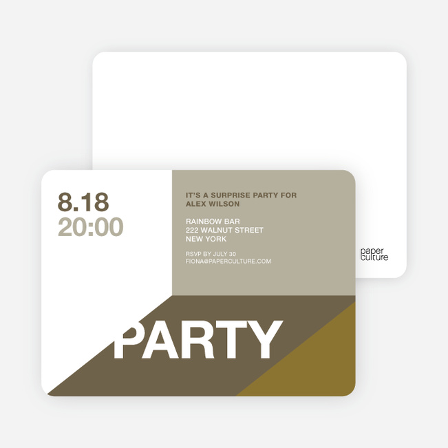 Modern Party Invitations - Mocha Tango