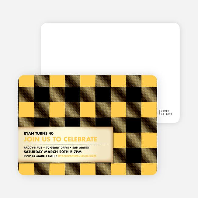 Modern Scottish Plaid Invitations - Golden Yellow