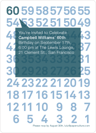 Modern Sixtieth Birthday Party Invitations - Teal