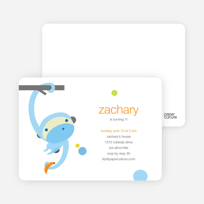 Monkey Business Modern Birthday Invitation - Baby Blue