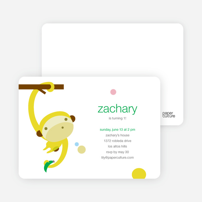 Monkey Business Modern Birthday Invitation - Maize