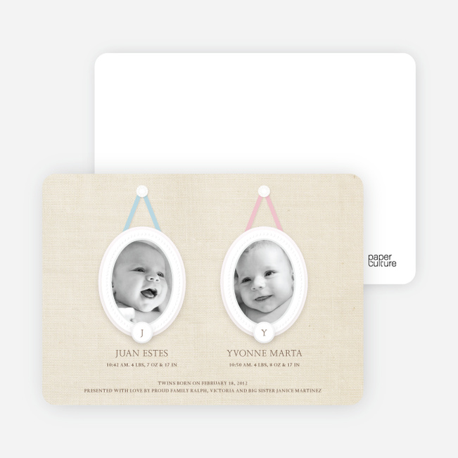 Monogram Multi Photo Birth Announcements for Twins - Aquamarine