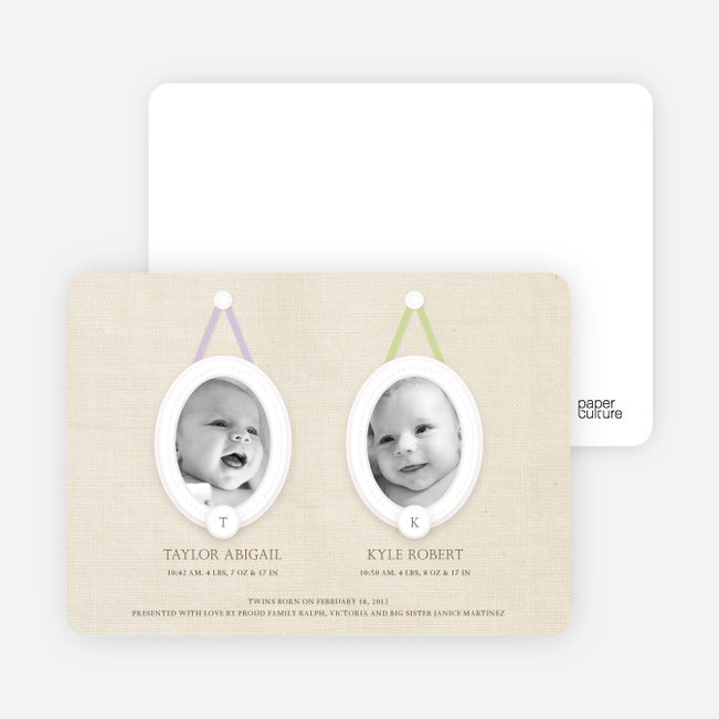 Monogram Multi Photo Birth Announcements for Twins - Lilac