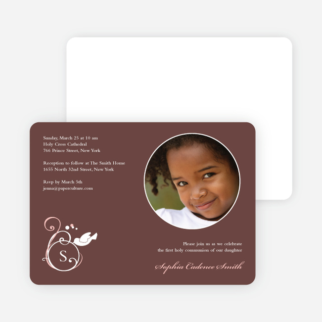 Monogrammed Dove Photo Cards for First Holy Communion Invitations - Eggplant
