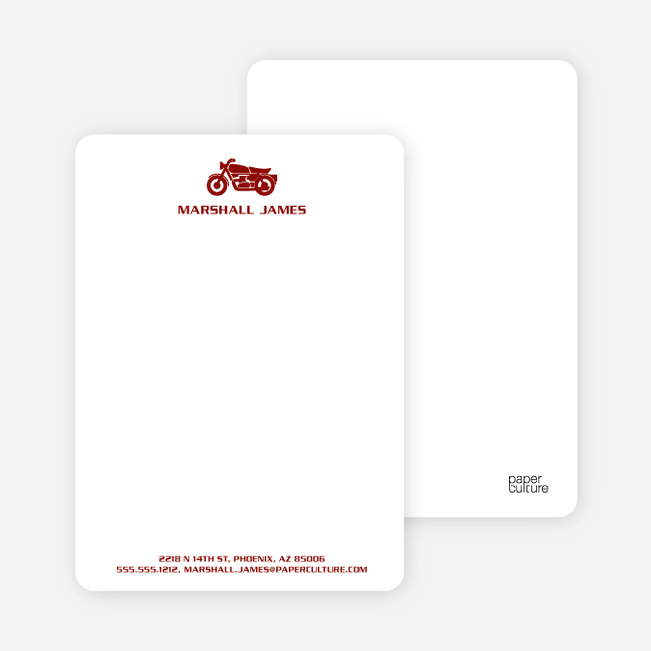 Motorcycle Personalized Stationery and Notecards - Sangria