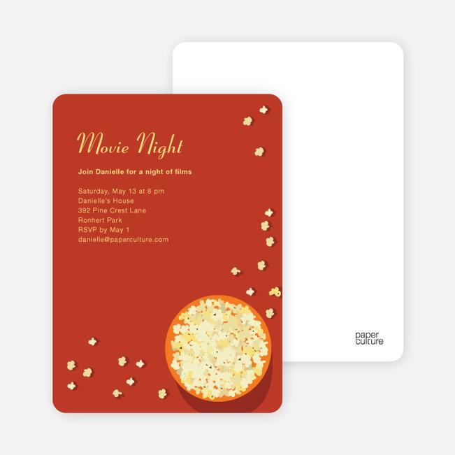 Movie Night Party Invitations - Cinnamon