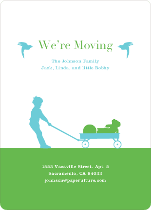 Moving in a Wagon: Fun Moving Announcements - Pesto