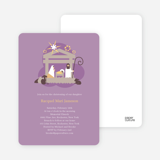 Nativity Scene Christmas Card - Lavender