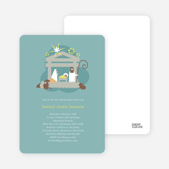 Nativity Scene Christmas Card - Greenish Blue