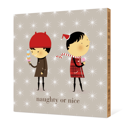 Naughty or Nice Bamboo Wall Décor - Ash
