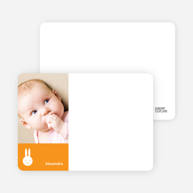 Not Bugs Bunny, Far Cuter Personalized Photo Card Stationery - Tangerine