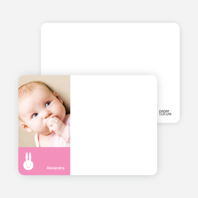 Not Bugs Bunny, Far Cuter Personalized Photo Card Stationery - Hot Pink