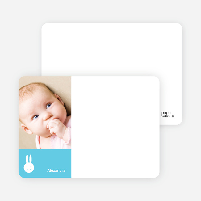 Not Bugs Bunny, Far Cuter Personalized Photo Card Stationery - Sky Blue
