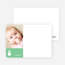 Bunny Photo Card Stationery - Mint Green