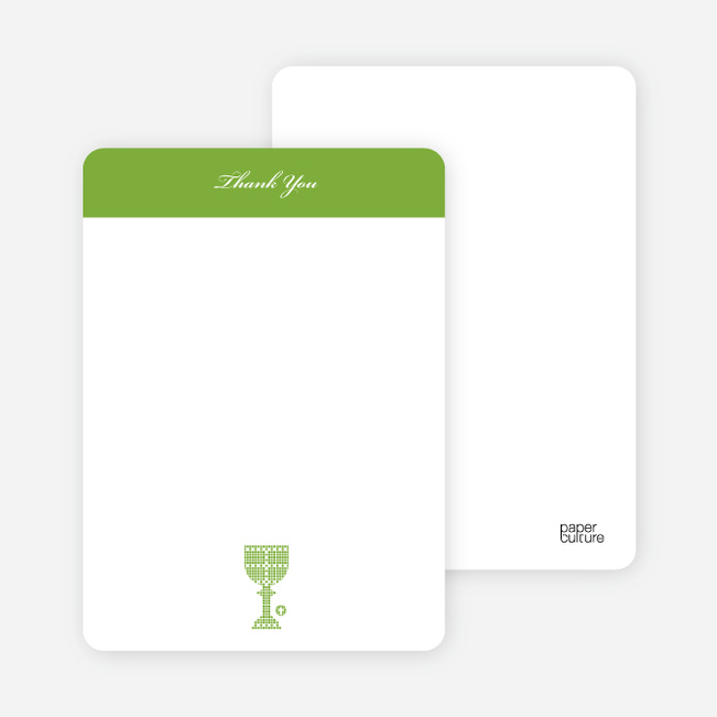 Note Cards: 'First Sacrament – Chalice' cards. - Apple Green