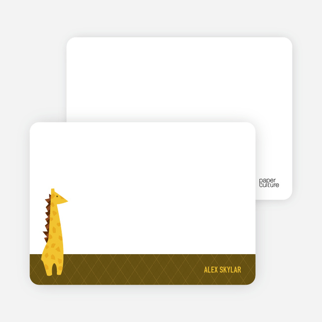Note Cards: 'Giraffe Baby Announcement' cards. - Dark Olive