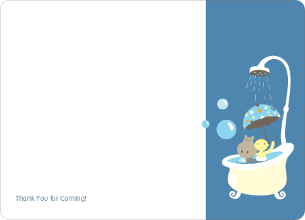 Note Cards: 'Hippo in the Tub' cards. - Cadet Blue
