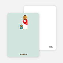 Note Cards: 'Jesus and Baby Baptism Invitation' cards. - Greenish Blue
