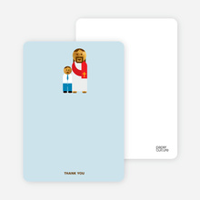 Note Cards: 'Jesus and Boy Baptism Invitation' cards. - Light Blue