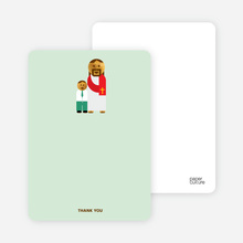 Note Cards: 'Jesus and Boy Baptism Invitation' cards. - Light Green