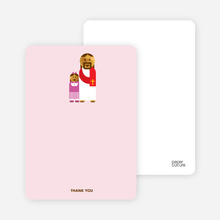 Note Cards: 'Jesus and Girl Baptism Invitation' cards. - Pink