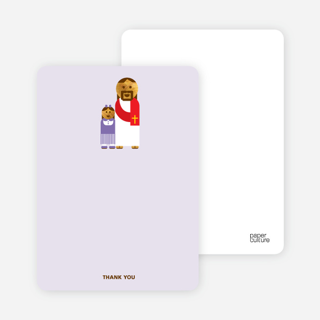 Note Cards: 'Jesus and Girl Baptism Invitation' cards. - Pale Purple