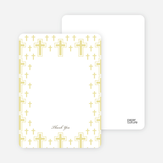 Note Cards: 'Light of the Cross Baptism Invitation' cards. - Yellow