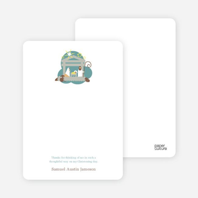 Note Cards: 'Nativity Scene Holiday Card' cards. - Greenish Blue