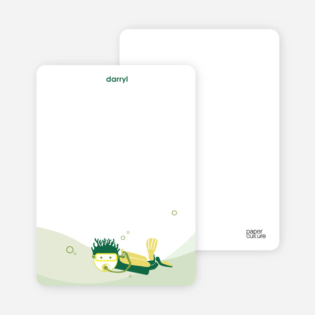 Note Cards: 'Pool Party' cards. - Forest Green