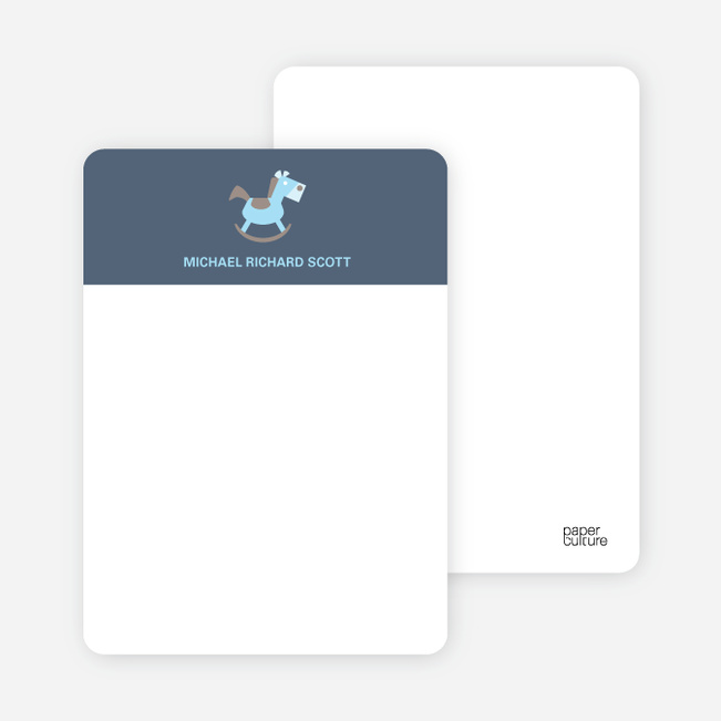 Note Cards: 'Rocking Horse Baby Announcement' cards. - Grayish Blue