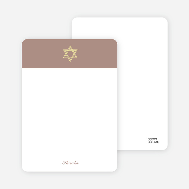 Note Cards: 'Simple Star of David' cards. - Beige