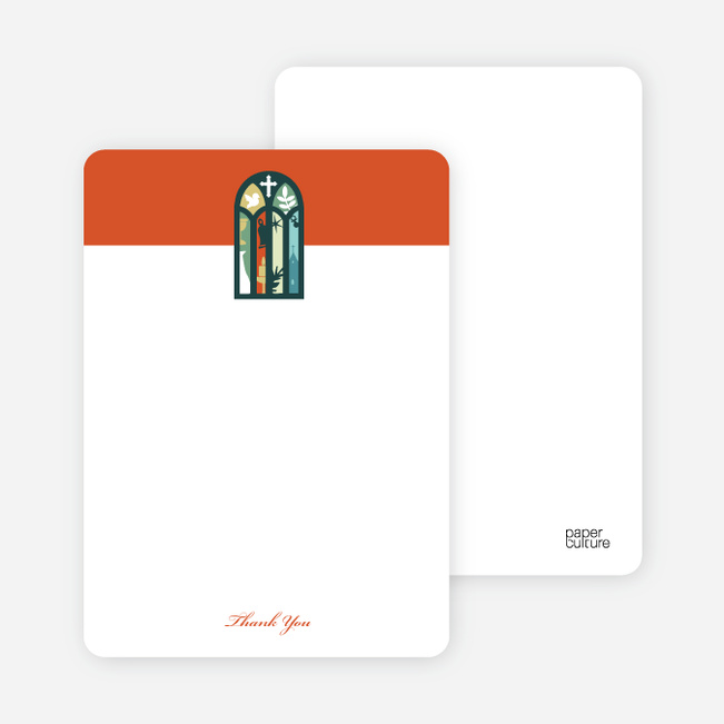 Note Cards: 'Stained Glass Christening Card' cards. - Orange