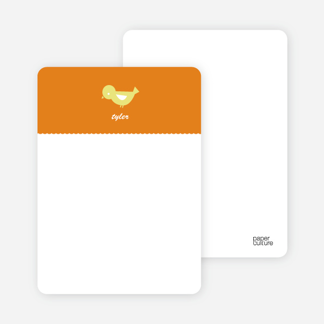 Notecards for the 'Birdie Announcement' cards. - Bright Orange