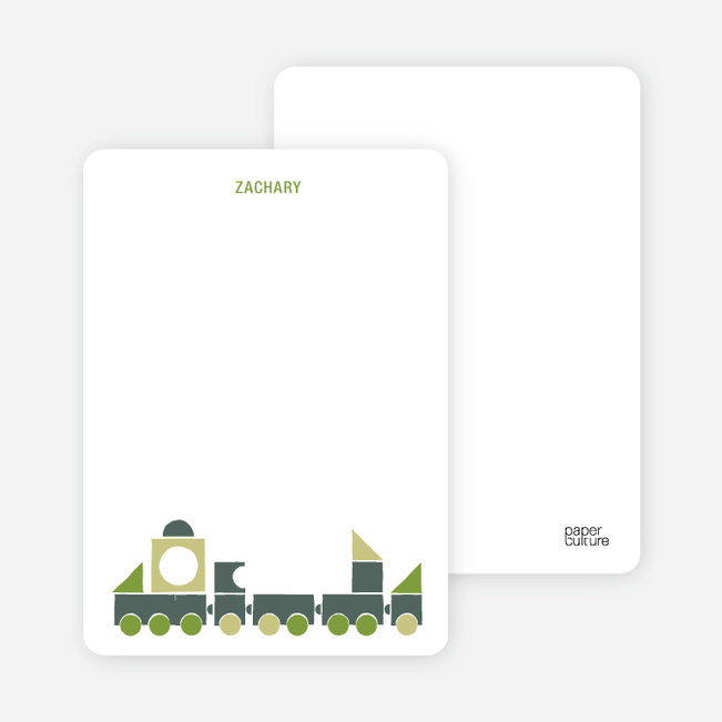 Notecards for the 'Choo Choo Train Arrival' cards. - Olive Green