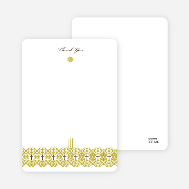 Notecards for the 'Elegant Candle Baptism Invitation' cards. - Greenish Yellow