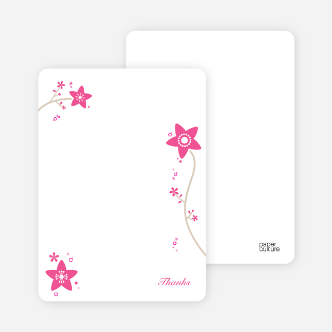 Notecards for the 'Floral Baptism Invitation' cards. - Pink