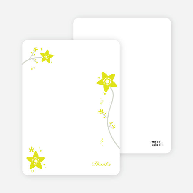 Notecards for the 'Floral Baptism Invitation' cards. - Yellow