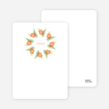 Flower Wreath Bridal Shower Note Cards - Peach