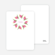 Flower Wreath Bridal Shower Note Cards - Hot Pink