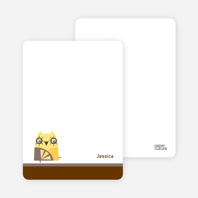 Notecards for the 'Hoo's Having a Birthday?' cards. - Pale Yellow