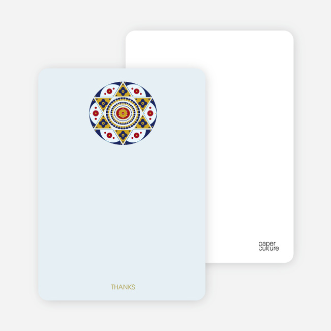 Notecards for the 'Ornate Star of David' cards. - Pale Blue
