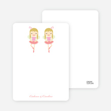 Notecards for the 'Twin Ballerinas' cards. - Salmon