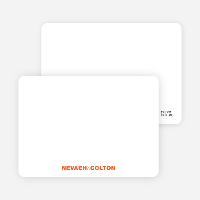 Notecards for the 'Twin Cradle Talk' cards. - Tangerine