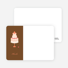 Wedding Dress Cake Shower Note Cards - Papaya