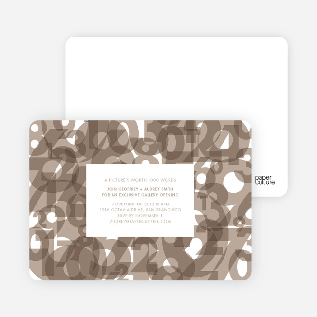 Number Chaos Party Invitations - Almond